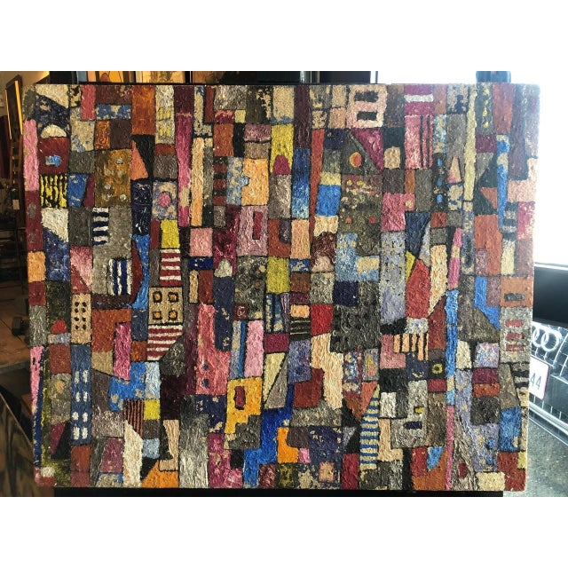 1950s Vintage Modern Abstracted Cityscape Painting For Sale - Image 11 of 11