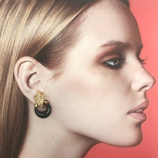 Gold Plated Clip on Earrings With Black Enamel and Clear Crystals by Dior Preview