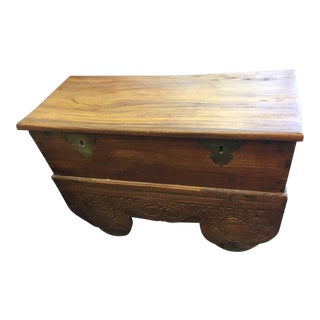 Vintage Boho Chic Teak Trunk on Wheels With Brass Details
