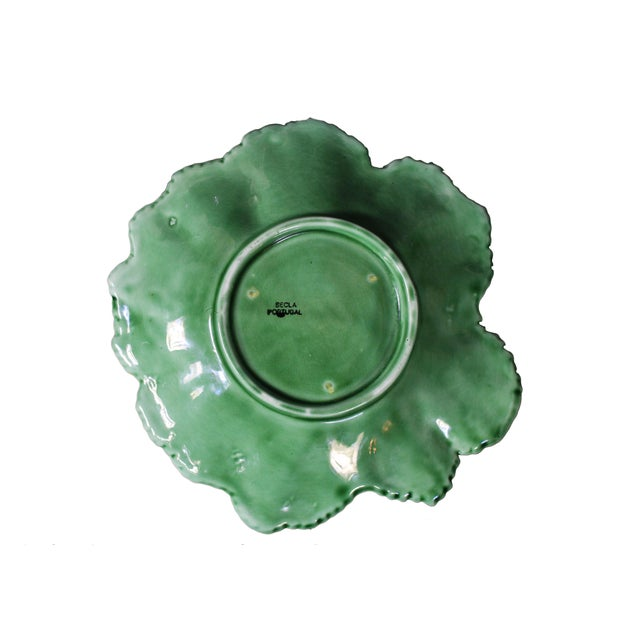 """Early 20th Century Vintage Majolica """"Cabbage"""" Dark Green Leaf Salad or Serving Plate For Sale - Image 5 of 9"""