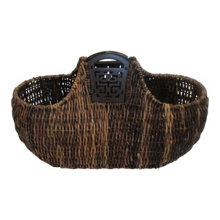 Large Display Basket With Wooden Handles
