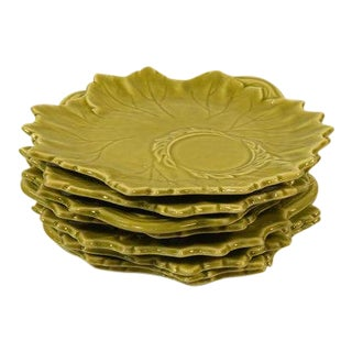 "Russel Wright Steubenville Woodfield Green Leaf 9"" Luncheon Plates - Set of 8"
