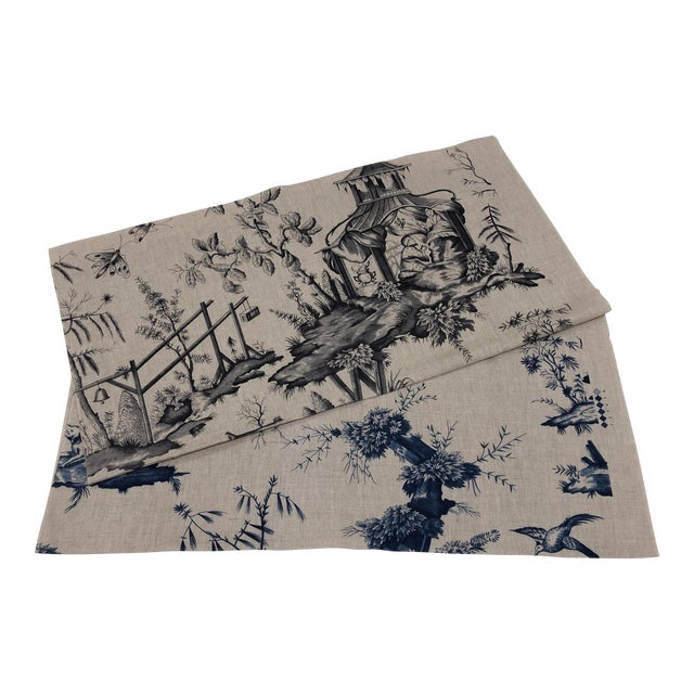 Schumacher Chinoiserie Linen Fabrics - A Pair For Sale