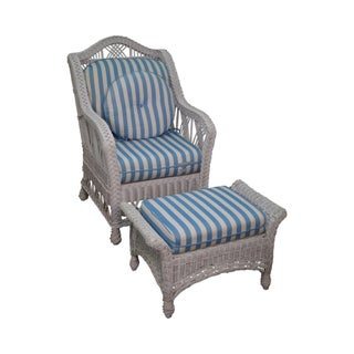 Victorian Style White Wicker Lounge Chair with Ottoman For Sale