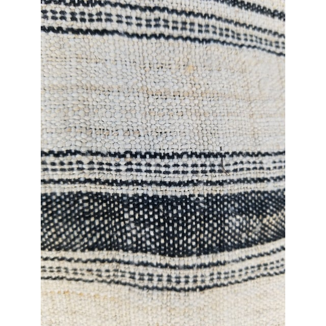 Hand Spun Black Stripe Linen Throw For Sale - Image 4 of 7