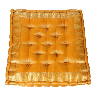 Moroccan Oversized Yellow and Gold Tufted Floor Pillow Cushion For Sale