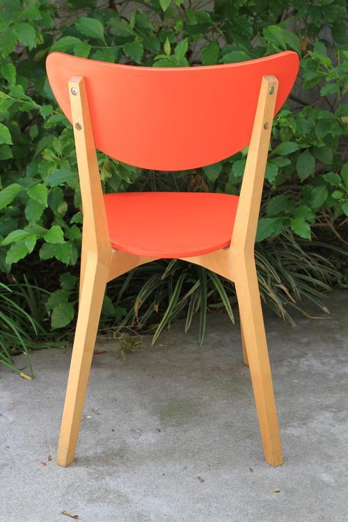 Mid Century Tangerine Chairs   Set Of 3   Image 5 Of 8