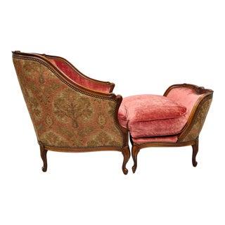 20th century Henredon Beacon Hill Louis XV Bergere Chair & Ottoman