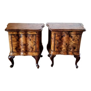 1930s Venetian Baroque Burled Walnut Bombe Bedside Table - a Pair For Sale