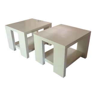 White Solid Wood Side Tables of Geometric Design - a Pair