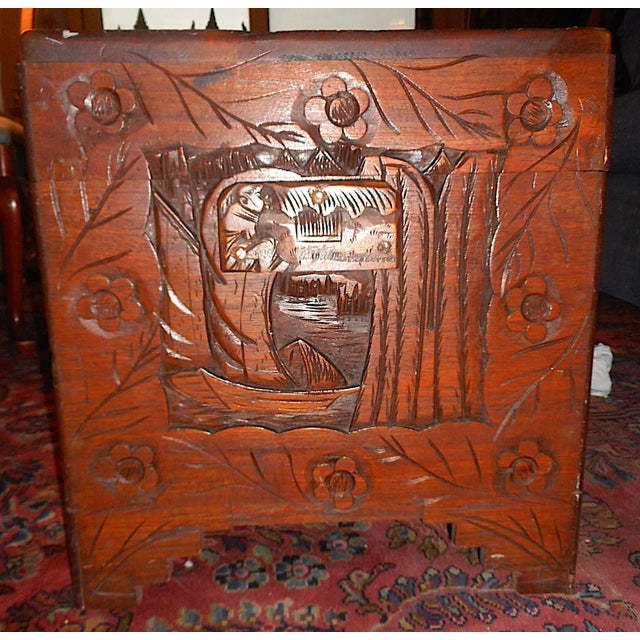 Antique Original Hand Carved Mahogany Chest/Coffee Table-Camphorwood Lined For Sale - Image 10 of 10