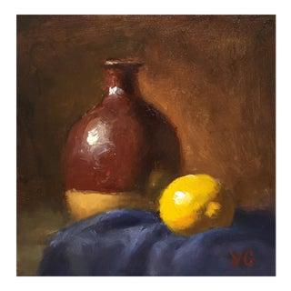 Alla-Prima Oil Still Life With Vase & Lemon For Sale