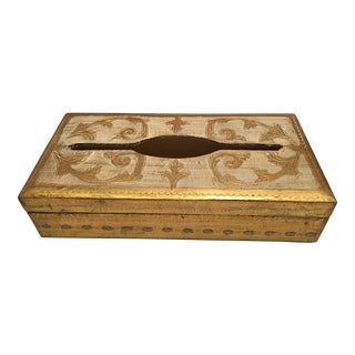 Hollywood Regency Florentine Tissue Box For Sale