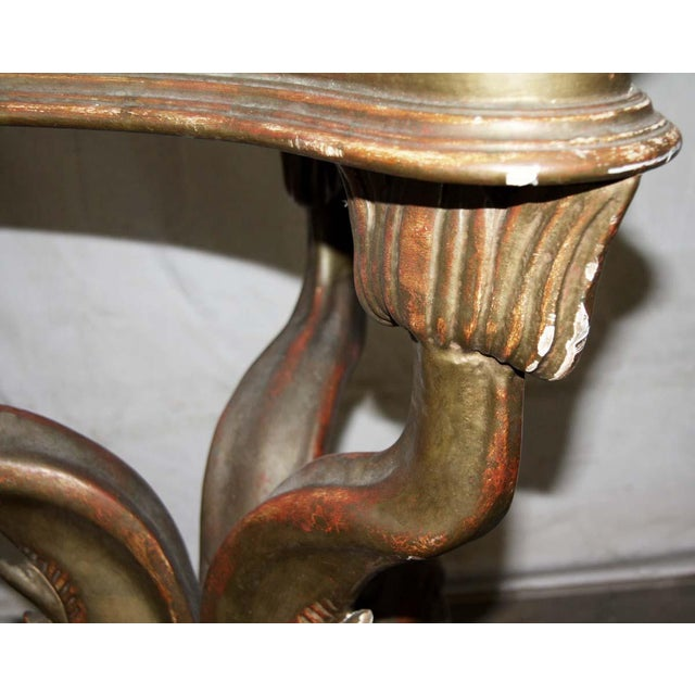 19th Century Solid Wood Carved Table Base With Gold Gilt For Sale - Image 6 of 9