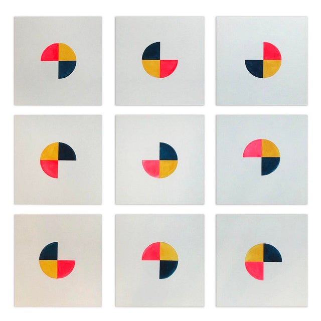 This set of 9 paintings are individually primed wooden panels. Each panel is painted using 4 colours flame red, mustard,...