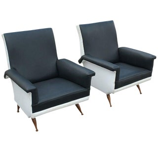 Pair of Italian Black and White Lounge Chairs For Sale