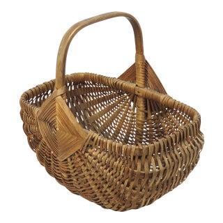 20th Century Maine Ash Splint Carry Basket For Sale