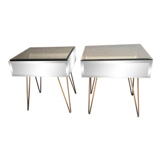 Worlds Away Mirrored Side Tables With Hairpin Legs - a Pair