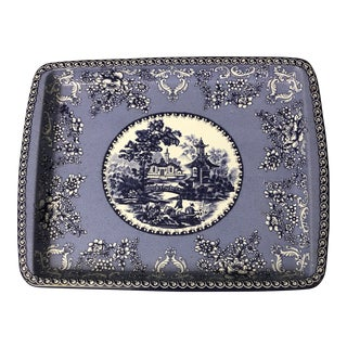 Blue Willow Metal Tray by Daher Decorated Ware England For Sale