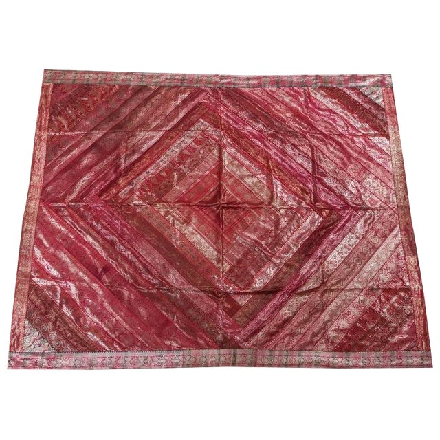 Indian Silk Sari Tapestry Quilt Patchwork Bedcover Fuchsia Color For Sale
