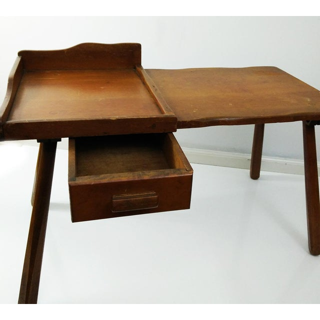 American Vintage Early American Cobbler Table With Drawer For Sale - Image 3 of 7