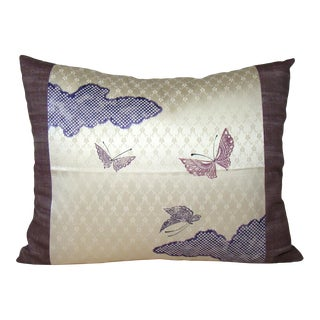 Japanese Butterflies Silk Kimono Pillow Cover For Sale