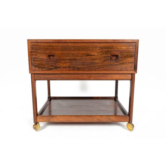 Danish Modern Rosewood Rolling Cart - Image 2 of 11