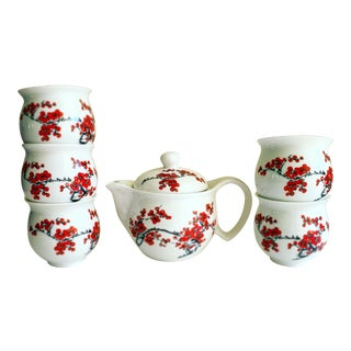 Cherry Blossom Tea or Saki Set of Six For Sale