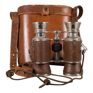 World War Ll Era Leather and Chrome Binoculars & Case C.1940 For Sale