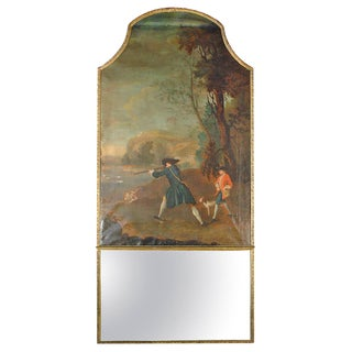Large and Rare Period French Regence Trumeau Depicting a Hunting Scene For Sale