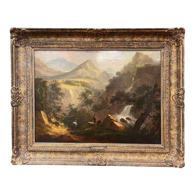 19th Century French Oil on Canvas Pastoral Painting in Carved Gilt Frame Signed For Sale