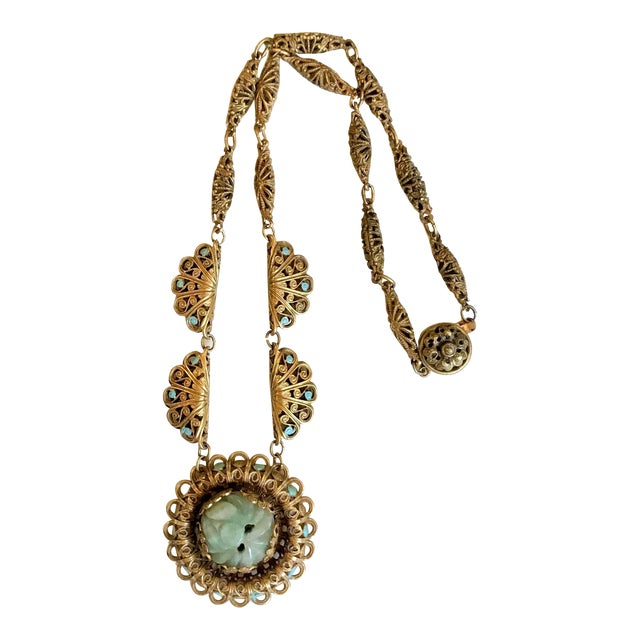 1930s Carved Jade and Enameled Brass Necklace For Sale