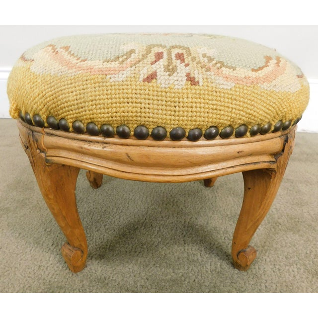 Brown French Louis XV Style Antique Small Needlepoint Footstool For Sale - Image 8 of 13