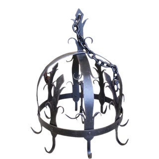 Ornamental Wrought Iron Pot or Herb Drying Rack For Sale