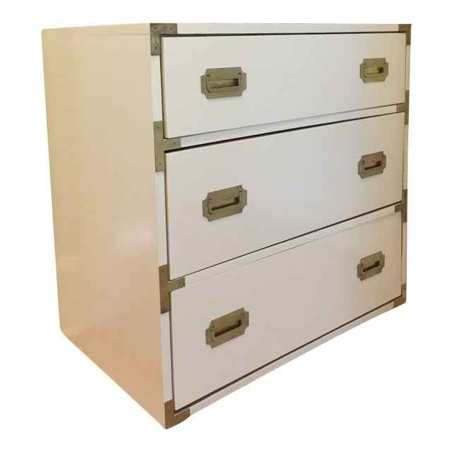 Campaign Schoolfield Industries Hickory White Chest of Drawers For Sale