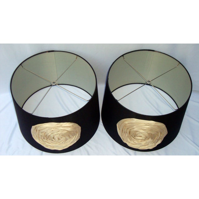 Modern Deco Glam Black Silk Floral Lampshades - Image 6 of 9