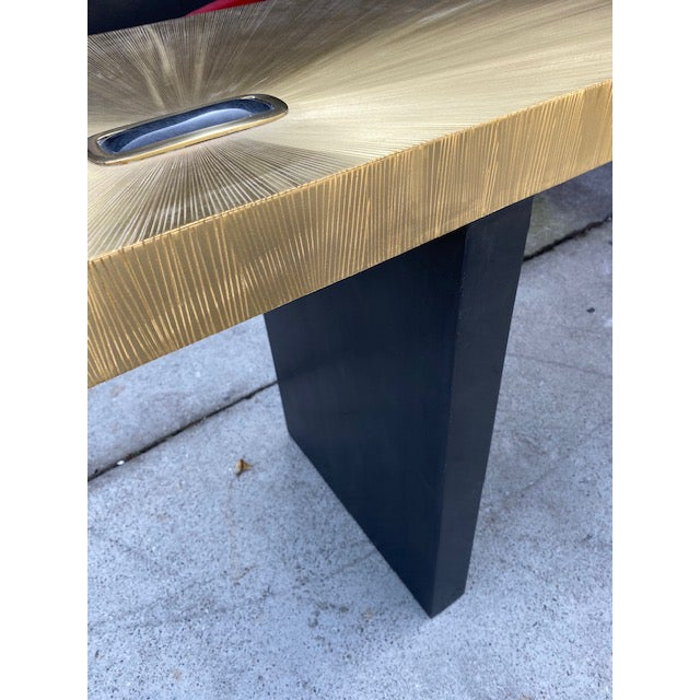 1960s Modern Soleil Brass Console Table For Sale In Los Angeles - Image 6 of 9