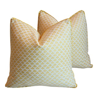 "Italian Mariano Fortuny Canestrelli Feather/Down Pillows 20"" Square - Pair For Sale"