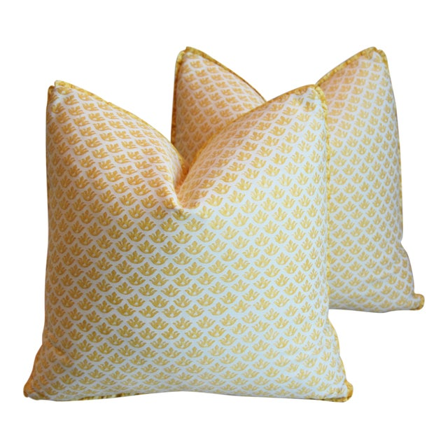 """Italian Mariano Fortuny Canestrelli Feather/Down Pillows 20"""" Square - Pair For Sale"""
