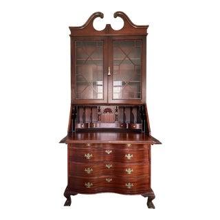 1920s Mahogany Secretary Desk With Original Key For Sale