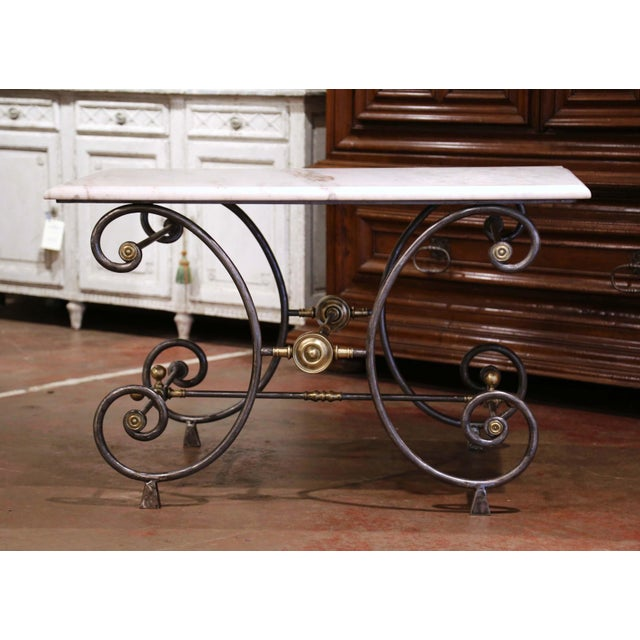19th Century French Polished Iron and Bronze Pastry Table With Marble Top For Sale - Image 13 of 13
