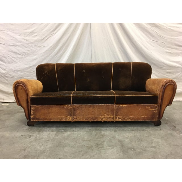1930's French Art Deco Leather & Mohair Club Sofa For Sale - Image 9 of 10