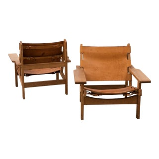 Pair of Hunting Chairs by Kurt Ostervig in Oak and Carmel Leather, Denmark, 1960s