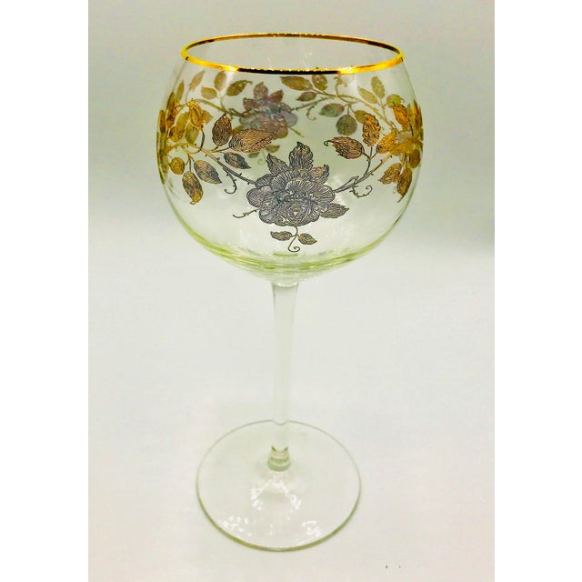 Early 20th Century Antique French Baccarat Gold Encrusted Needle Etch Crystal Hock Glasses- Set of 6 For Sale - Image 10 of 13