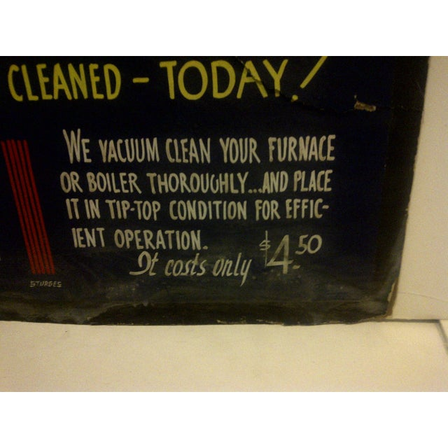 """Vintage Home Heating Coal Sign """"Majestic Coal"""" Circa 1940 For Sale - Image 4 of 6"""