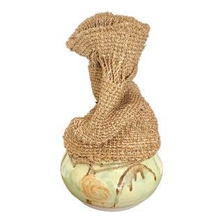 Modern Abstract Multimedia Ceramic and Crochet Studio Vase For Sale