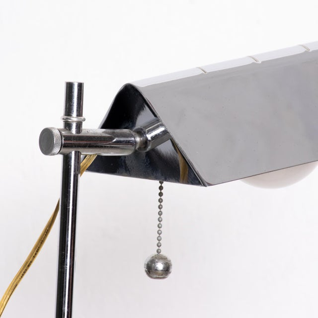 Metal Mid Century Modern Chrome Reading-Floor Lamp After Koch Lowy For Sale - Image 7 of 10