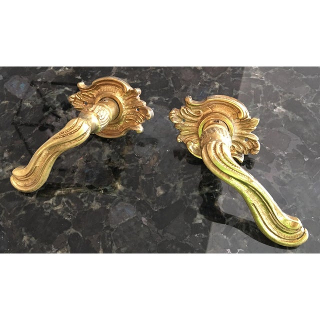 Vintage French Louis XV Style Brass Lever Door Handles - a Pair - Image 6 of 6