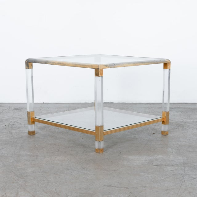 Charles Hollis Jones 1970s French Glass and Resin Coffee Table For Sale - Image 4 of 4