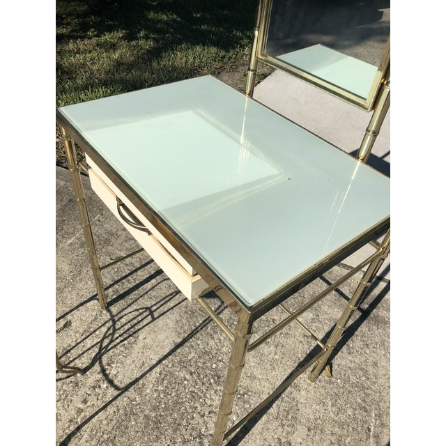 Metal George Koch Brass Bamboo Vanity With Stool For Sale - Image 7 of 9
